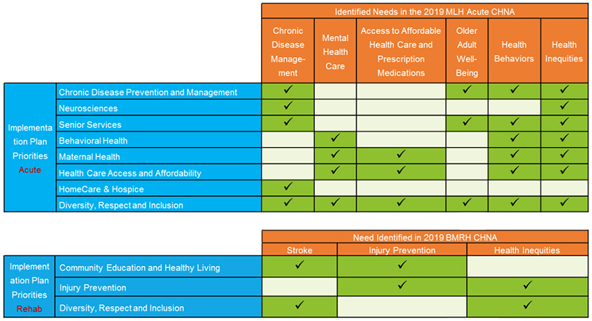 Tables showing needs identified for Main Line Health acute care hospitals and Bryn Mawr Rehab Hospital during the 2019 Community Health Needs Assessments