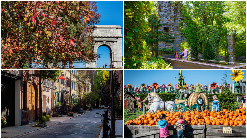 Top Left: The memorial arch at Valley Forge National Historical Park; Top Right: People in garden outside of Chanticleer in Wayne, Pennsylvania; Bottom Left: Rittenhouse area of Center City Philadelphia; Bottom Right: Linvilla Orchards