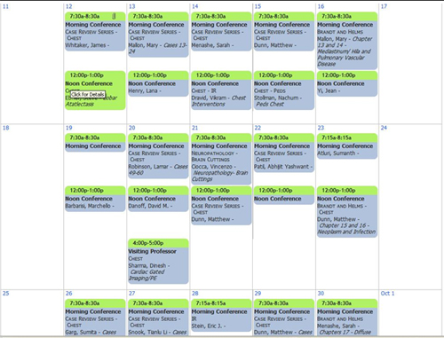 Sample radiology conference schedule