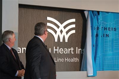 Main Line Health President Jack Lynch (left) and Lankenau President Phil Robinson introduce the Lankenau Heart Institute