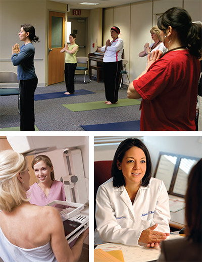 (Clockwise from top) yoga at Paoli Hospital and national and investigator-led clinical trials, such as those with Bryn Mawr Hospital's Andrea Barrio, MD, supplement diagnosis and treatment