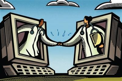Illustration of two doctors leaning out of computer monitors shaking hands with each other