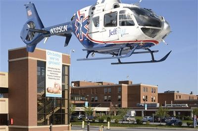 Jeff Stat helicopter landing at Lankenau Medical Center (hospital in the background)