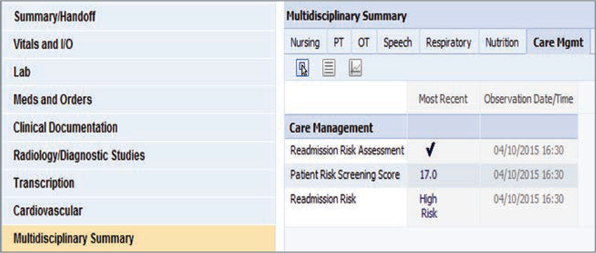 Screen shot of EMR tool that shows readmission risk