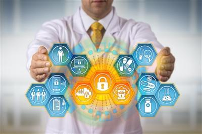 Doctor with hands out behind graphic of health and security icons