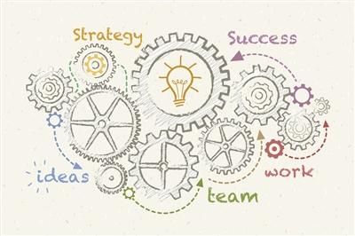 Illustration of gears with words: strategy, ideas, team, work, success