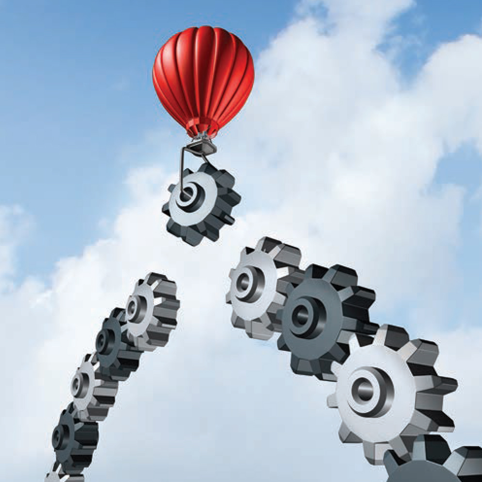 Graphic of a hot air balloon bringing down a gear to the top spot of an arch of gears