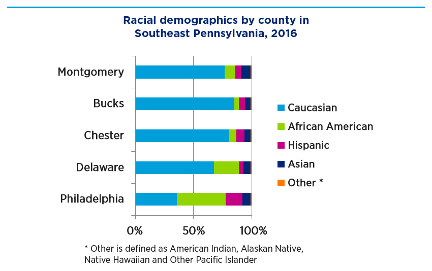 Bar graph showing racial demographics by county in Southeast Pennsylvania, 2016