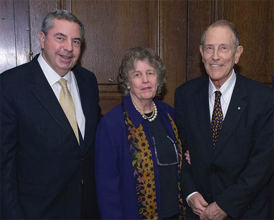 From left: Charles Antzelevitch, PhD (left) and benefactors Martha Hamilton Morris and I. Wistar Morris, III