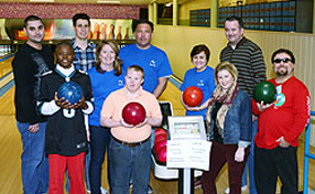 (Second row, second from left) Bryn Mawr Rehab Hospital President Donna Phillips joins employees and Project SEARCH interns and graduates for a night of bowling