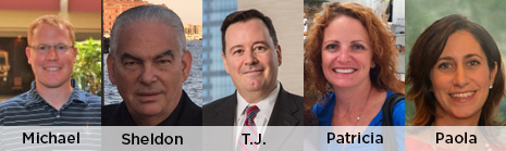 New board members, left to right: Michael Croce, Sheldon Gross, Thomas J. Haas, Patricia Panzo and Paola Versano