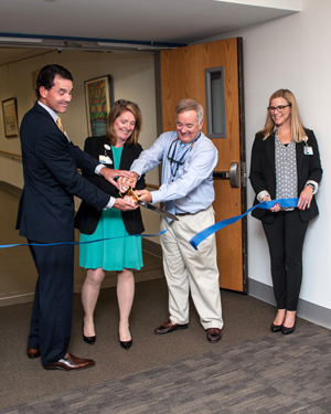 Ribbon cutting at the Outpatient Center (from left): Brian McTear, Donna Phillips, Jack Lynch and Linda Ridpath
