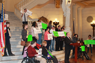 A group of attendees at the brain injury rally