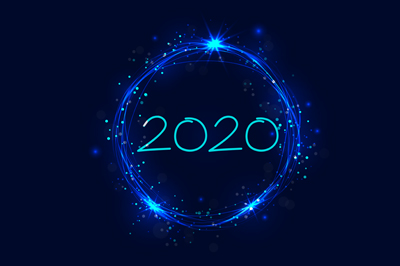 2020 written in a light blue, sparkly circle on a dark blue background
