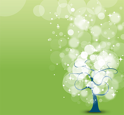 Illustration of a tree with balls of light drifting up and away on a green background