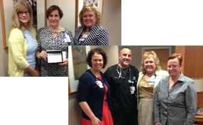 Top left: (L-R) Diane Wolk, nurse manager, OR & PACU, Carol Devlin, and Jan Nash, VP, Patient Services. Bottom right: (L-R)Karen Kofalt, director, Respiratory, Dave Shirlow, clinical coordinator, Respiratory, Jan Nash, VP, Patient Services and Joyce Willens, widow of John S. Willens, MD