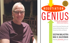Dr. Keith Laskin with Negotiation Genius book cover