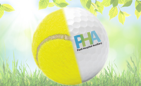 PHA tennis and golf logo on a spring grass background