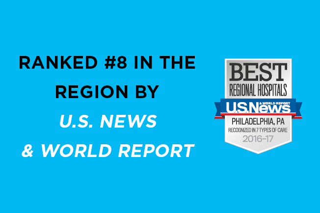 Paoli Hospital ranked #8 in the region by U.S. News & World Report