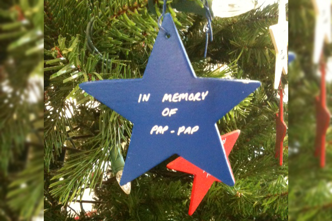 A star on the Paoli Tree of Lights that says: in memory of Pap-Pap