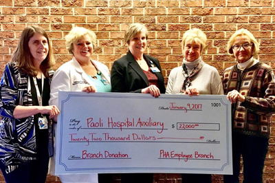 Paoli Hospital Auxiliary Employee Branch donation check