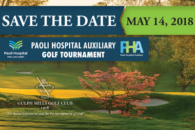 Save the date: May 14, 2018 - Paoli Hospital Auxiliary Golf Tournament