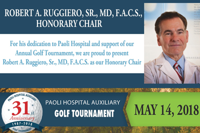 Screenshot of flyer for annual golf tournament honoring Dr. Ruggiero