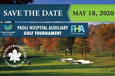 Save the date - May 18, 2020 - Paoli Hospital Auxiliary Golf Tournament