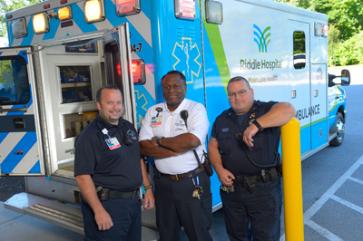 Some Riddle Hospital EMS with new ambulance