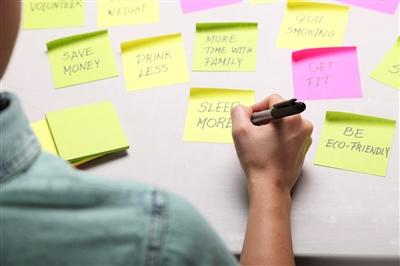 Post-it reminders of resolutions