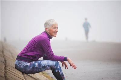 Woman resting on run