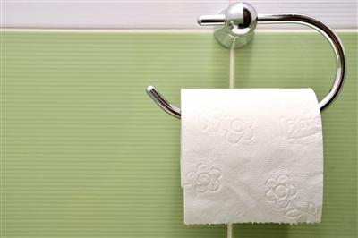 Roll of toilet paper hanging on wall holder