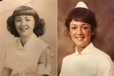 Dorothy Mantanari Iannotta (left) and Michele Radaszewski (right) nursing school photos