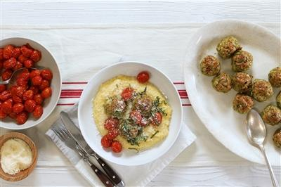 Chicken Meatballs and Greek Yogurt Polenta