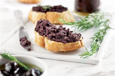 Tapenade served on bread