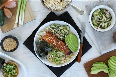 Ginger Miso Salmon Bowl with Quick Pickled Cucumbers