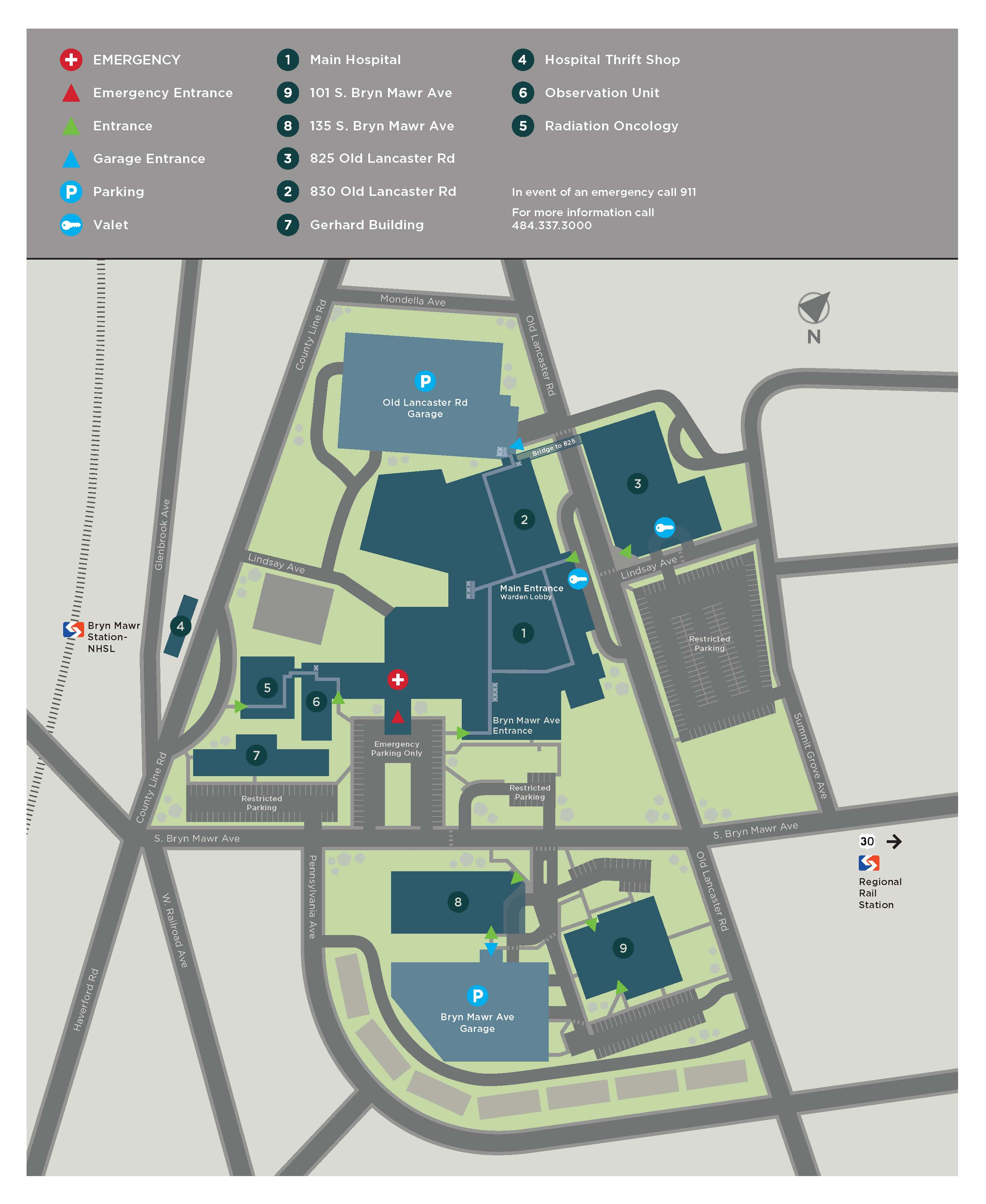 Navigating Our Campus Bryn Mawr Hospital Locations Main Line - Map of main
