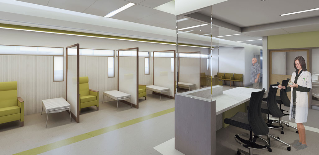 Architectural rendering of private check-in space with low-lighting and clinical team work areas behind glass, resulting in reduced noise levels in halls and patient areas