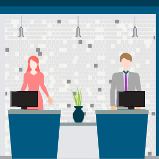 Icon of two people standing at a desk for check-in