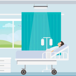 Icon of a patient in a hospital bed in a room