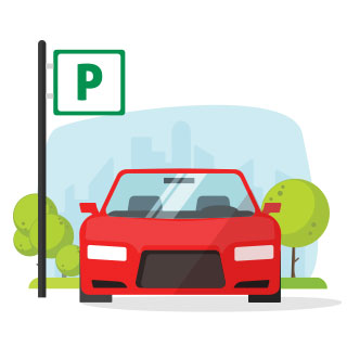 Icon of a car parked near a parking sign