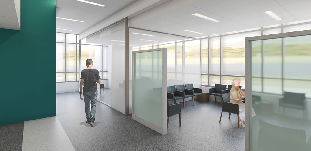 Architectural rendering of interior lobby and hallways featuring handrails and non-slip flooring to provide ease of movement and reduce fall risks