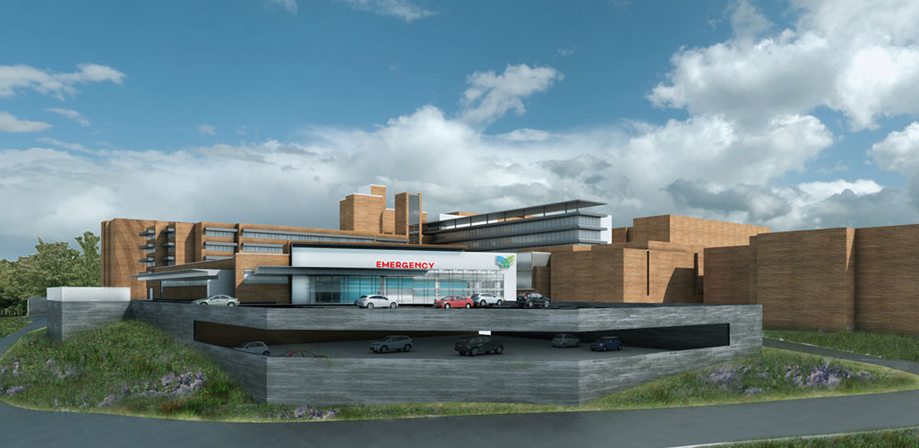 Architectural rendering of exterior wide-view with multi-level parking to improve accessibility and convenience