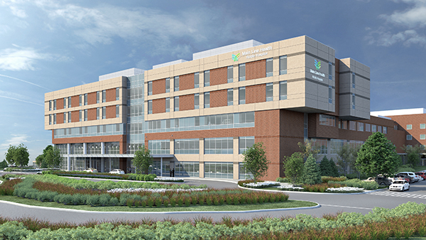 Rendering of planned facade of new Riddle Hospital building