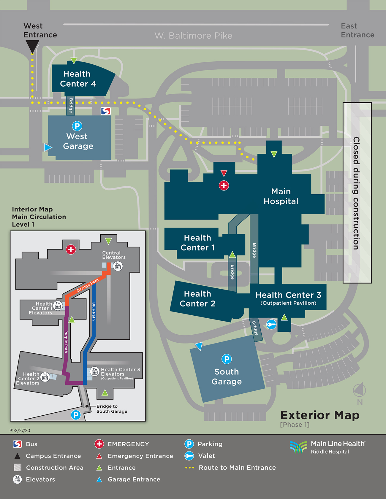 Map of Riddle Hospital campus showing closures during modernization project construction