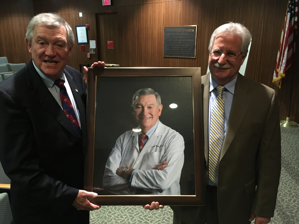 Dr. Noone (left) with current Bryn Mawr Hospital Campus Chief, Dr. David Rose (right). A portrait was presented to Dr. Noone and will hang in the hospital