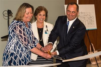 Ribbon cutting honors went to (left to right) Karla German, administrator, Orthopedic Surgery Center; Andi Gilbert, President, Bryn Mawr Hospital; and William Emper, MD, orthopedic surgeon, Main Line Health
