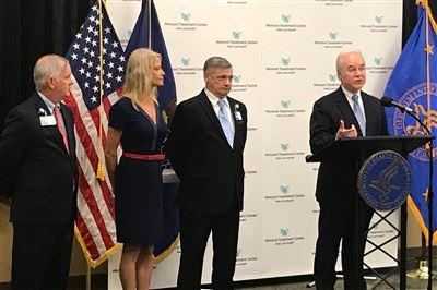 Health and human services visits Mirmont: (from left) Jack Lynch, Kellyanne Conway, David Lacey and Secretary Tom Price, MD
