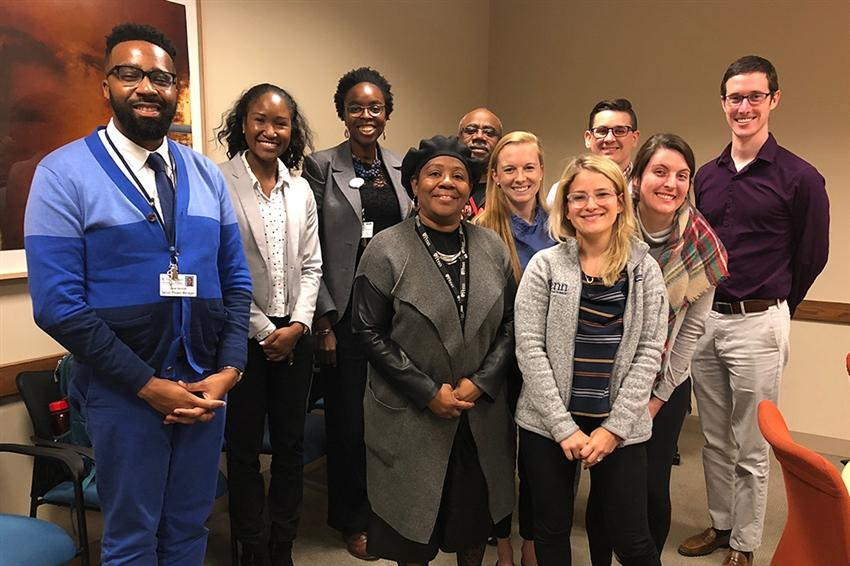 Main Line Health representatives shown are current and former medical student advocates: Michael Nitikman (far right), Conor McLaughlin (third from right) and Louisa Drake (fifth from right); Shonalie Roberts (second from left); and Chinwe Onyekere (third from left). Others include Penn IMPaCT leaders, Community Health Workers and Perelman School of Medicine medical students from student-run clinics, United Community Clinic and University City Hospitality Coalition, Inc.