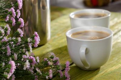 Cups of coffee and flowers on a table